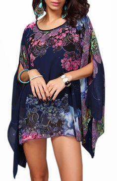 649a0fbfe1c4 Womens Bohemian Floral Loose Chiffon Blouse Caftan Poncho Tunic Tops Blue1   gt  gt  gt
