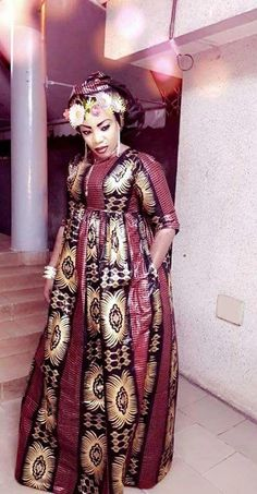 This surely is how royalty is supposed to dress in Africa and elsewhere. Long African Dresses, African Print Dresses, African Fashion Dresses, African Prints, African Inspired Fashion, African Print Fashion, Ankara Short Gown Styles, African Blouses, Africa Dress