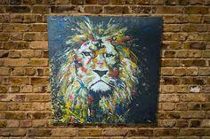 "Title ""LION"" original spray paint art work painted on wood canvas  http://www.spray-art.jp/"