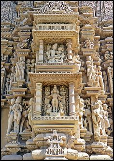 Exquisite carvings at Javari Temple, MP, India, (completed) around 1100 AD, via Architecture Classique, Architecture Antique, Indian Temple Architecture, India Architecture, Beautiful Architecture, Beautiful Buildings, Temple India, Hindu Temple, Khajuraho Temple
