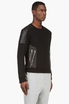 BALMAIN Black Quilted Leather Sweater