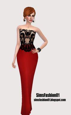 Red Long Dress at Sims Fashion01 via Sims 4 Updates