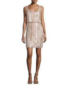Sleeveless Embellished Blouson Dress, Blush by Aidan Mattox at Neiman Marcus.