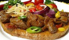 Topinka s pikantní játrovou směsí Hamburger, Toast, Beef, Recipes, Original Recipe, Cooking Recipes, Cooking, Meat, Recipies