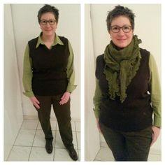 Grünes Outfit mit Herrenpullunder von März, Chino von Aigle und Bluse von Betty Barclay. Dreieckstuch: invero.