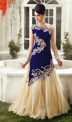 USD 116.6 Royal Blue Net Designer Indo Western Lehenga Choli 42917