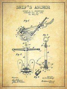 Ship Anchor Patent From 1892 - Vintage Drawing