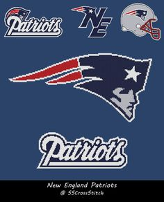 Cross Stitch Pattern for NFL Team New England Patriots 3 Variations to Choose