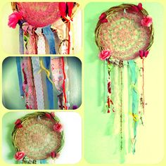spring butterfly rose Large DREAM CATCHER 13x37 handmade by WRaGgs, $79.00