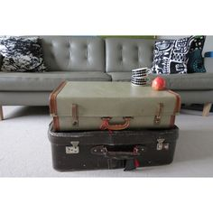 2 Vintage Suitcases or perhaps a Unusual Shabby Chic Coffee Table