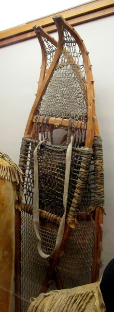 1880s Ojibway (First Nations) or Métis Snowshoes at the Royal Ontario Museum, Toronto - This was given to Dr. Charles Trick Currelly, first director of the Royal Ontario Museum (and whose photograph appears in the lower left corner), when he was in Manitoba as a Methodist lay preacher in 1888-1889.