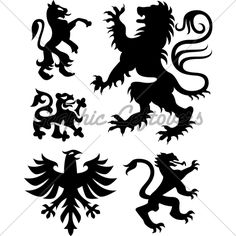 stock vector : heraldic eagle and griffin Griffin Tattoo, Griffin Logo, Fantasy Logo, Fantasy Art, Airbrush Tattoo, Persian Culture, Time Tattoos, Lion Tattoo, Silhouette Vector