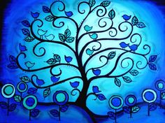 Custom painted for you...Tweeting Blue Birds in a curvy tree...UNIQUE family tree painting for you. via Etsy.