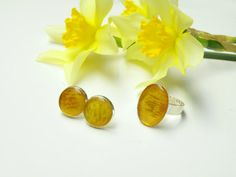 Real flower jewelry set Natural yellow petal of by Eternity31