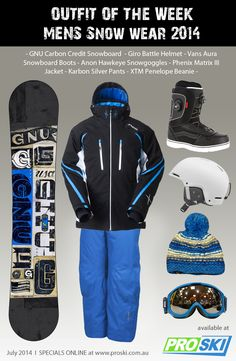 OUTFIT OF THE WEEK - Mens Snow Wear 2014 available at PROSKI #snowwear #snowgear #outfit #snowgoggles #gnu #giro #vans #dragon #xtm #anon #phenix #karbon