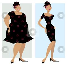 Weight Loss Clip Art | Before and after diet stock vector clipart, Changes in shape of a lady ...