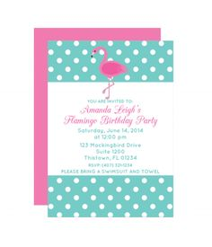 Free Flamingo Printable Party Invitation Template from printablepartydecor.com