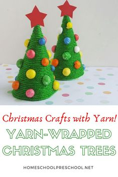 Are you looking for a fun preschool Christmas craft? Let your little ones make a yarn wrapped trees to decorate your home this holiday season. Christmas Crafts For Kids, Christmas Wrapping, Christmas Themes, Holiday Crafts, Christmas Holiday, Preschool Christmas Activities, Craft Activities For Kids, Preschool Crafts, Indoor Activities