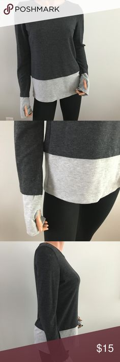 "Flying Street Gray Color Block Long Sleeve Shirt M Excellent used condition  Chest is 18"" flat Length is 26"" Flying Street Tops Tees - Long Sleeve"