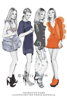 NohaNoor: Kelly Smith - fashion illustration ..... love her
