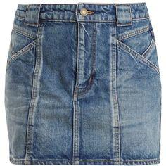 Saint Laurent Multi-seam denim skirt ($690) ❤ liked on Polyvore featuring skirts, denim, yves saint laurent, blue skirts, yves saint laurent skirt, knee length denim skirt and denim skirt