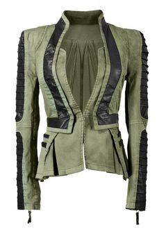 Denim PU Leather Contrast Green - Cool Denim Leather Blazer
