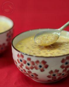 Sago (tapioca pearls) and mango dessert