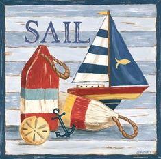 Best Hobbies For Retirees Nautical Prints, Nautical Theme, Beach Cottage Style, Coastal Style, Beach House, Art Vintage, Arte Popular, Decoupage Paper, Beach Crafts