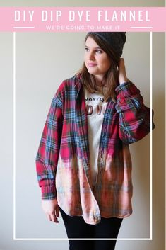 Learn how to make a fun dip dye flannel that you can wear to keep you warm all fall and winter. All you need is a flannel and some bleach! Bleach Dye Shirts, Bleach Tie Dye, Flannel Shirts, Shirt Refashion, Diy Shirt, Fashion Looks, Diy Fashion, Dip Dye Shirt, Flannel