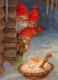 Tomte spotting his Christmas porridge left by a family Vintage Christmas Cards, Christmas Pictures, Vintage Cards, Vintage Postcards, Illustration Noel, Christmas Illustration, Illustrations, Christmas Gnome, Christmas Art