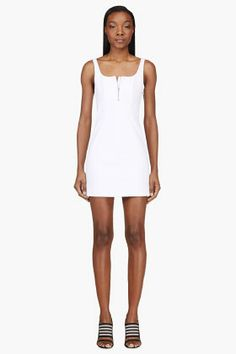 T By Alexander Wang White Structured Panelled Dress for women | SSENSE