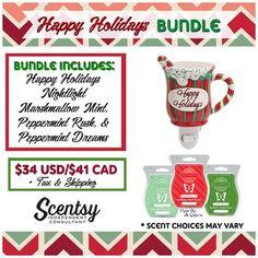 SCENTSY HAPPY HOLIDAY NIGHTLIGHT BUNDLE: Combine & Save - Scentsy System = $20 Nightlight warmer + 3 Scent Bars.