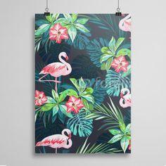 Poster Tropikalne Flamingi