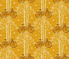 Bicycle print fabric via Spoonflower