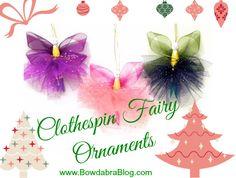 DIY Sugar Plum Fairy Clothespin fairy ornaments #christmas
