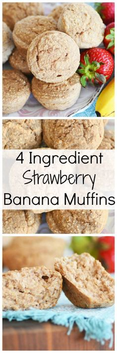 These 4 ingredient Strawberry Banana muffins are great for breakfast.They are made with common ingredients and can be gluten-free easily.