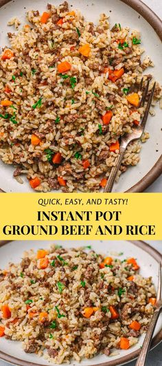 It's really tasty! You can feed your family fast and cheap with this Instant Pot Ground Beef and Rice recipe. It's the easiest one-pot meal recipe to make on busy weeknights! It's so quick, delicious, and nutritious! #groundbeef #rice #groundbeefandrice #instantpotgroundbeef #groundbeefrecipes #beefandrice #instantpot