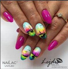 58 hottest beach nail ideas designs for summer palm tree nai Beach Nail Designs, Nail Art Designs, Trendy Nails, Cute Nails, Palm Tree Nails, Nails With Palm Trees, Bright Summer Nails, Nail Summer, Sea Nails