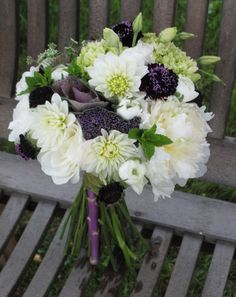 White wedding bouquet of dahlias, peonies, lisianthus, scabiosa and kale  Floral Artistry by Alison Bucholz-Ellis
