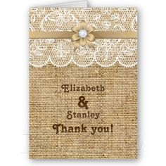 White lace, linen burlap wedding Thank You photo note card. Pretty much perfect for us! This is how I want to do the wedding invites