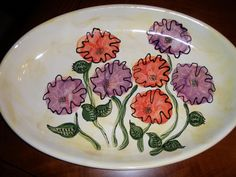 Painted pottery of poppy flowers