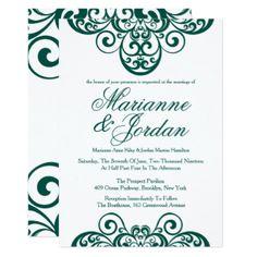 Gleaming Emerald Green Ornate Wedding Invitations