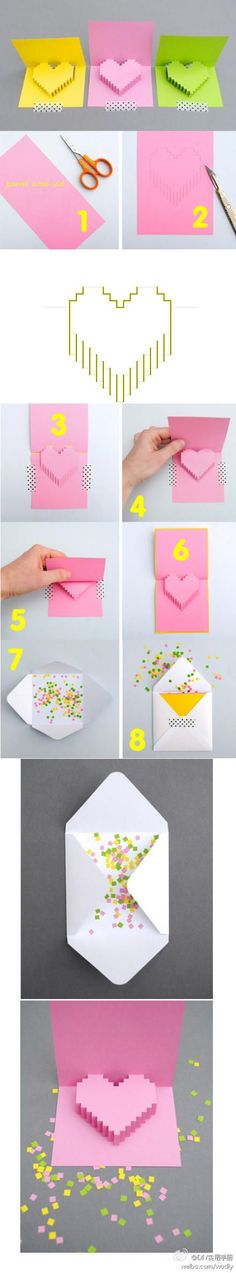 tarjeta paper pop up heart tutorial how to diy with envelope, confetti and washi masking tape lovely letters, snail mail, decorated letter Paper Pop, Diy Paper, Paper Crafting, Origami And Kirigami, Origami Paper, Origami Heart, Oragami, Valentine Love, Valentines