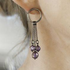 Sircle Earrings with purple beads by Silva Sitārā * www.facebook.com/SilvaSitara