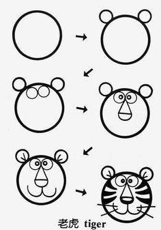 buidling using shape, tiger, kinder Art Drawings For Kids, Doodle Drawings, Drawing For Kids, Cartoon Drawings, Easy Drawings, Animal Drawings, Doodle Art, Art For Kids, Basic Drawing