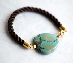 Turquoise and Brown Cord Bracelet by pardes israel by pardes, $22.00
