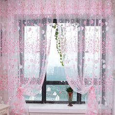 Pastoral Style Window Curtain Drape Panel Sheer Voile Tulle Flowers Pattern Shade Curtain 1*2M - Pink