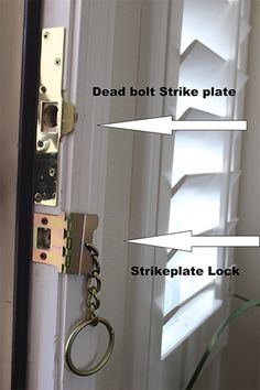 Strike Plate Locks - SAFETY FIRST PEOPLE. So much better than chains on the doors. Inexpensive and can be used in rentals. Home Security Tips, Security Door, Security Alarm, Safety And Security, Home Security Systems, House Security, Video Security, Personal Security, Security Companies