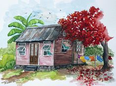 Caribbean House Painting - Caribbean House by Karin  Dawn Kelshall- Best