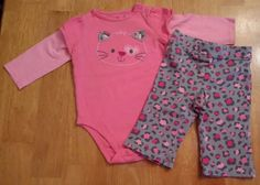 Cute Jumping Beans 2 Pc Outfit Peach Shirt Kitty 6 Mos SHIPS IMMEDIATELY #JumpingBeans #Everyday